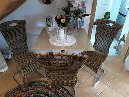 küchengarnitur glastisch mit 3 flechtstühle tisch stuhl