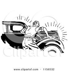 Clipart of a Black and White Retro Man Waxing a Car Royalty Free