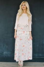 beige coral floral modest maxi skirt for church modest