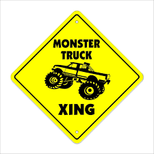 Monster Truck Crossing Sign Zone Xing 14