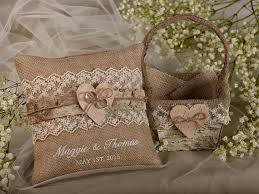 Flower Girl Natural Birch Bark Basket Burlap Ring Bearer Pillow Set Shabby Chic Rustic Embroidery Names