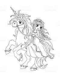 Princess And Unicorn Coloring Pages With
