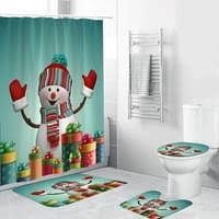 4 stück weihnachten thema badezimmer dekoration rutschfeste teppich toliet abdeckung badematte duschvorhang grün