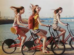 Three Friends Riding Bikes By The Ocean Biking Makes Memories Adds To Your Love Life And Helps You Have Fun
