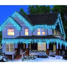 time icicle light set white wire blue bulbs 300 count