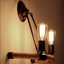 vintage loft braided hemp rope wall l st64 edison light bulbs