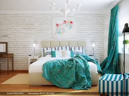 Retro Classic Turquoise Bedroom Design With Vintage White Chandelier Over Master Bed And Subway Brick Wall Panel