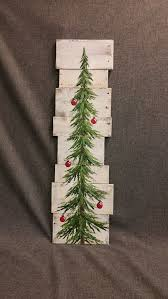 Christmas Tree White Washed Red Bulbs 3 Foot Pine Reclaimed Pallet Art Winter Snow Hand Painted Upcycled Wall