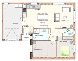 plan maison plain pied 2 chambres maison 2 chambre salon cuisine