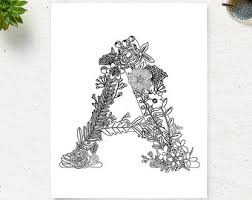 Printable Floral Alphabet Coloring Page Letter A Instant Download Digital Art Zen Pages