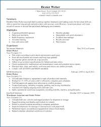 Example Of A Warehouse Resume Best Order Picker Sample Resumes New Template