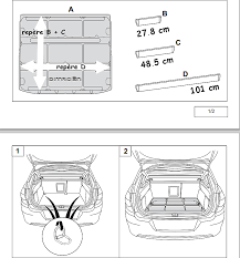dimension coffre c4 picasso accessoires bac de coffre c4