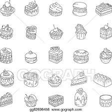 Vector Clipart Set with different kinds of dessert cake muffin macaroon pie contour outline monochrome for your design announcements postcards