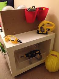 the finished play kitchen workbench hack made from an ikea