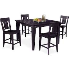 New Haven Counter Height Dining Table And 4 Slat Back Stools