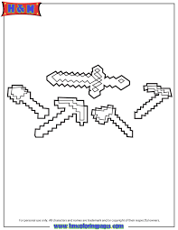 Minecraft Weapons Coloring Page