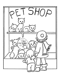 Pet Shop Coloring Page For Kids Animal Pages Printables Free