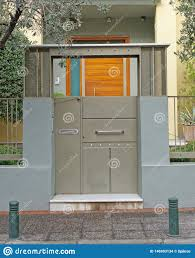 100 Contemporary Gate Athens Greece House Entrance Stock Photo