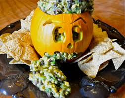 Puking Pumpkin Guacamole Recipe by Boo Mama Genny Chips And Brains Or Vegan Avocado Corn And