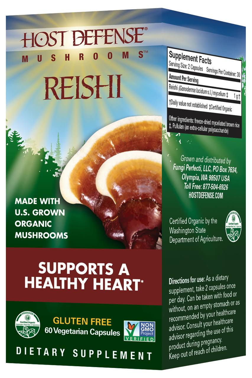 Host Defense Reishi Mushroom Supplement - 60 Vegetarian Capsules