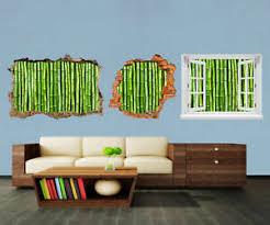 details zu 3d wandsticker bambuswand aufkleber mauerdurchbruch m0054
