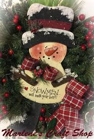 Snowman WreathSnowman DecorationSnowman Door HangerRustic Winter WreathOutdoor Wreath