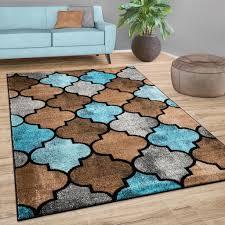 teppich wohnzimmer marokkanisches muster kurzflor modern in braun beige blau grösse 200x280 cm