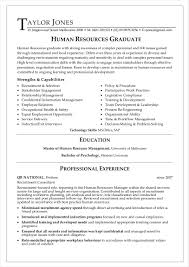 Human Resources Graduate Resume Example