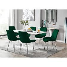 essgruppe caba mit 6 stühlen perspections farbe stuhl grün silber