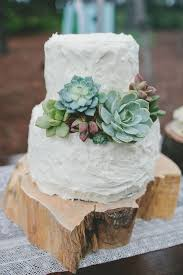 Simple Rustic Chic Succulent Wedding Cakes
