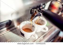 Espresso Machine Pouring Coffee Into Cups At Restaurant Automatic Making Poster
