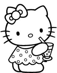 Hello Kitty Was Drinking Delicious Coloring Page