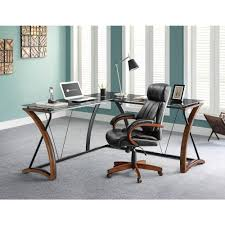 Small Glass And Metal Computer Desk by Whalen Glass And Cherry Desk With Storage Jcs110605 D The Home Depot
