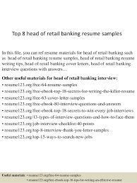 Top 8 Head Of Retail Banking Resume Samples In This File You Can Ref