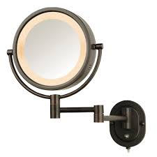 jerdon 5x halo lighted 13 in l x 9 in w wall mount mirror in