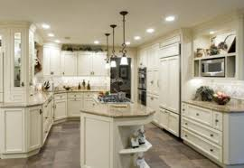Kitchen Floor Ideas With Cream Cabinets Dark Countertops And Grey Floors Images
