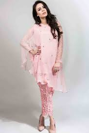 latest light pink fancy short shirt with matching trousers latest