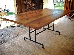 Custom DIY Large Farmhouse Dining Table With Solid Wooden Top And Black Iron Pipe Base Legs Ideas