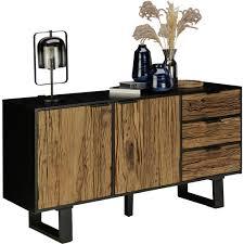 landscape sideboard altholz hartholz naturfarben schwarz nanda natur schwarz holz 2 fächer 3 schubladen 150x75x40 cm