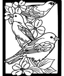 Free Coloring Page Favorite Birds Stained Glass Book Download Crafts For Kids Dover Books