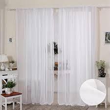 2er set vorhänge gardinen fenster deko vorhang schleier weich romantisch schleier weiß 140 120cm