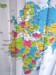 Eco friendly world map shower curtain waterproof products washable