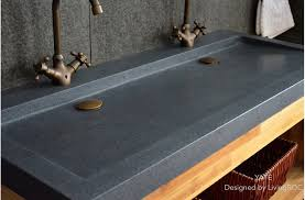 Small Trough Bathroom Sink With Two Faucets by 47
