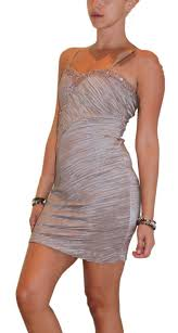 Mocha Coffee Colored Strapless Bodycon Dress With Stones C 120