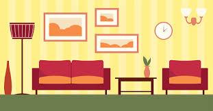 vector color interior of living room illustration eps 10