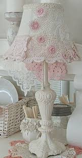 I love this lamp with doilies on the shade would be fun to make