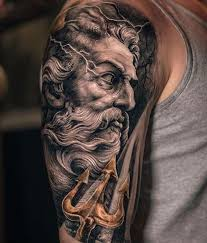 Neptune Holding His Trident Done On Guys Upper Arm By Yomico Moreno An Artist Based In New York City USA
