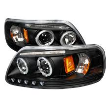 97 03 ford f150 black halo projector led headlights