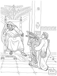 David Plays The Harp For Saul King Christianity Bible Coloring Pages Kids