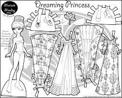 A Paper Doll Princess Coloring Page Featuring Four Elegant Dresses And Two Pairs Of Shoes